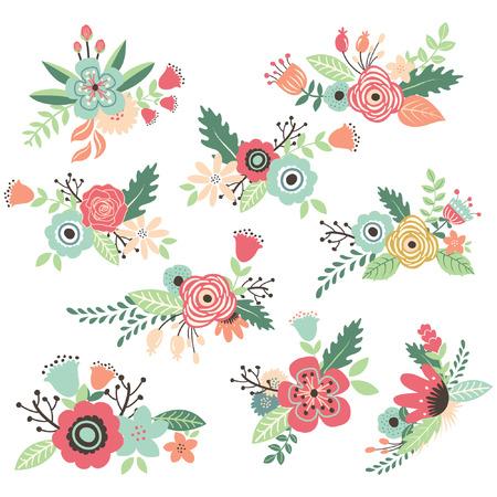 Vintage hand getekende bloemen Set Stock Illustratie