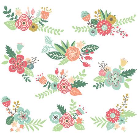 Vintage Hand Drawn Floral Set Vettoriali