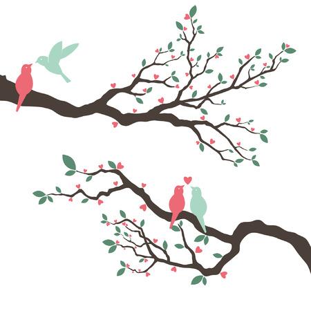 Wedding Invitation with love bird Illustration