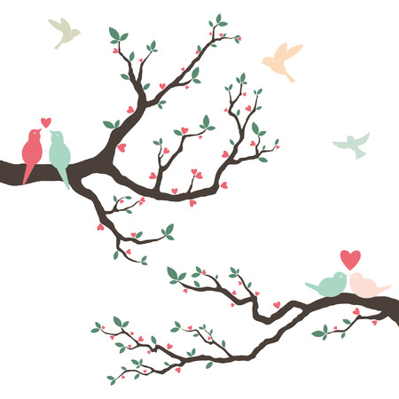 branch silhouette: Retro Love Bird Wedding Invitation