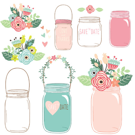 scrapbook elements: Flower Mason Jar