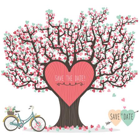 Invitación de la boda del árbol de amor Foto de archivo - 42212055