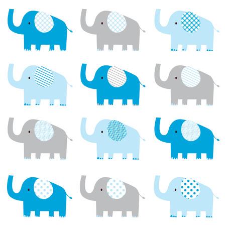 아기: 귀여운 아기 코끼리 패턴 일러스트