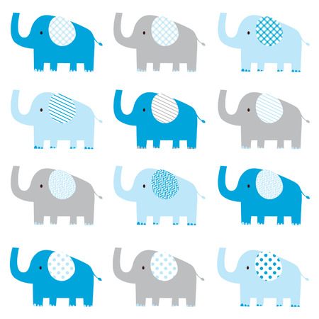 Cute Baby Boy Elephant pattern Illustration