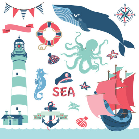 nautical vessel: Nautical Sea Elements Illustration