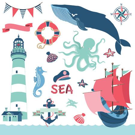 Nautische Sea Elements Stock Illustratie