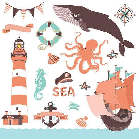 wedding  art: Nautical Sea Set Illustration