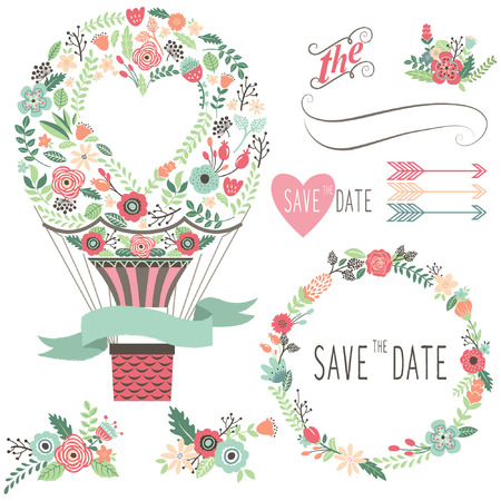 rustic: Vintage Flowers Hot Air Balloon Illustration