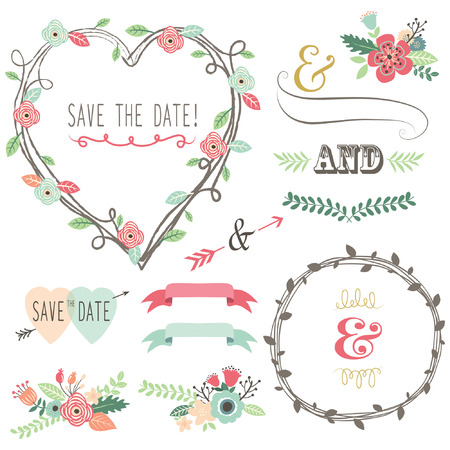 wedding card design: Vintage Wedding Flora Heart Shape