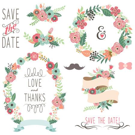 floral: Hochzeits-Weinlese-Blumen-Kranz- Illustration