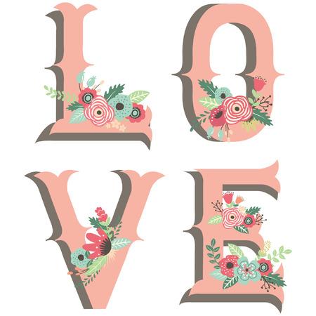 Wedding Flower Love Design Elements