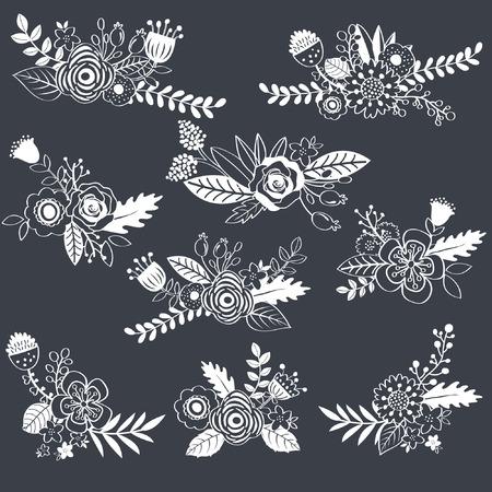 formal garden: Chalkboard Wedding Flower Illustration