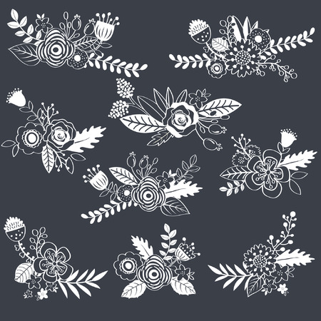 Chalkboard Wedding Flower Vettoriali
