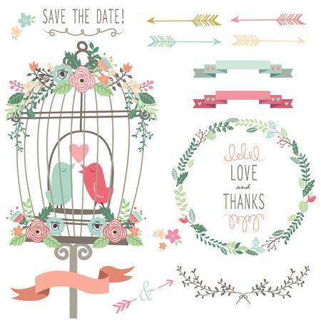 Retro Love Birdcage and Wedding Flowers