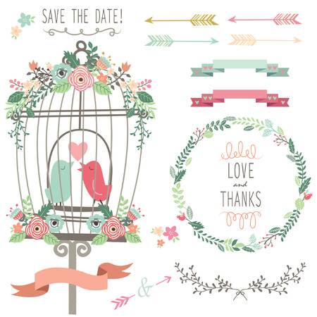 Retro Liefde Birdcage en Wedding Flowers Stock Illustratie