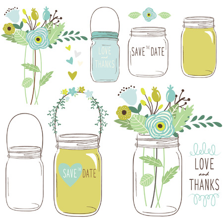 Vector drawings of wedding jars and flowers