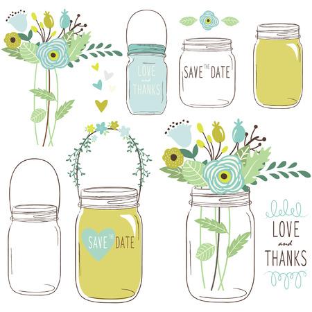 Vector drawings of wedding jars and flowers
