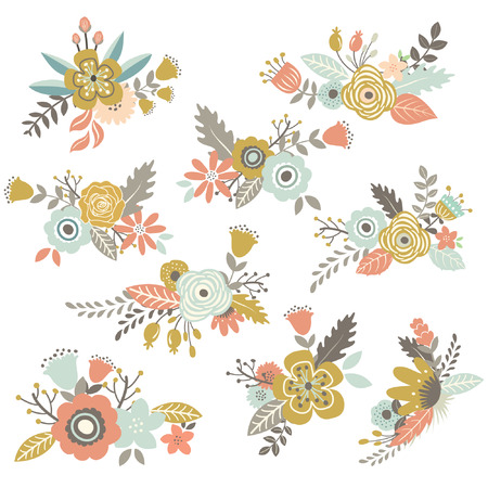 빈티지 손으로 그린 꽃 세트