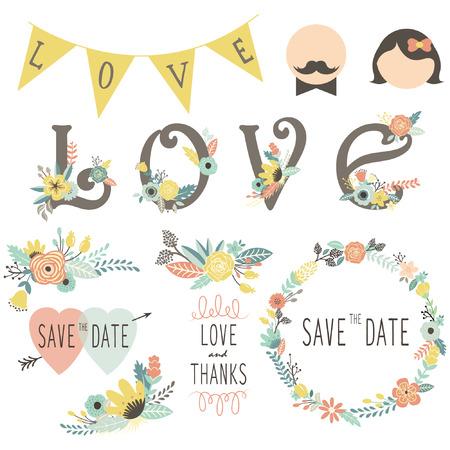 Wedding Floral Invitation Elements Ilustracja