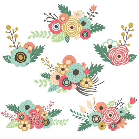 結婚式: 手描画花セット