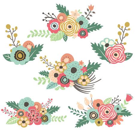 c�r�monie mariage: Fleurs � la main Dessin� fix�s Illustration