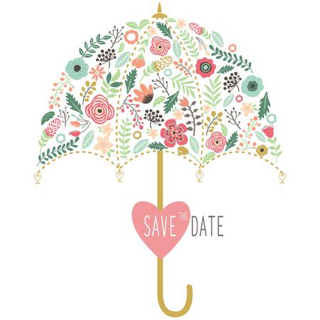 플로라 웨딩 우산 요소 스톡 콘텐츠 - 42845675