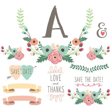 wedding table decor: Hand Drawn Floral Wedding set