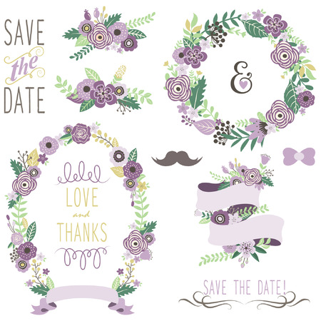 floral vectors: Wedding Vintage Floral Wreath