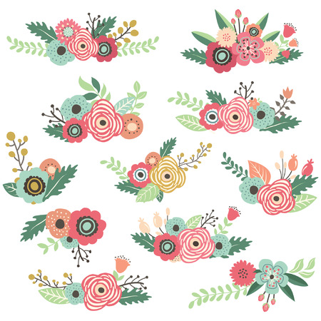 꽃 꽃다발 세트 그린 빈티지 손 스톡 콘텐츠 - 42910144