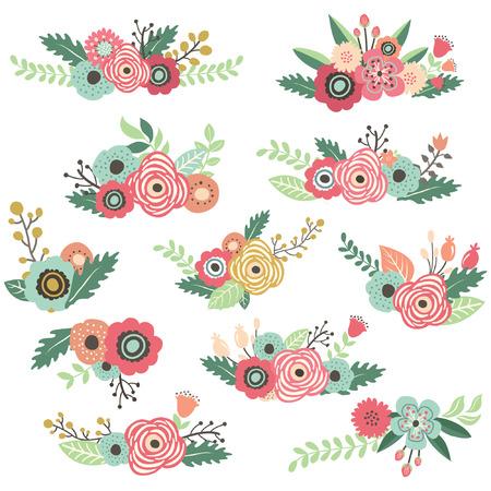 Vintage Hand Drawn Floral Bouquet Set Vectores