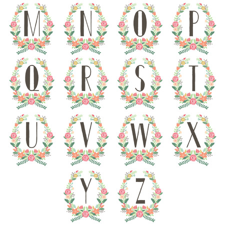 Monogram Wreath Table Card M to Z