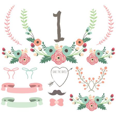 Hand Getrokken Wedding Flower set Stock Illustratie