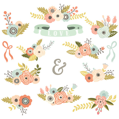 floral vector: Vintage Floral Bouquet Set