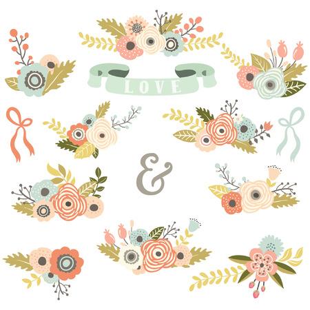 jardines con flores: Vintage ramo floral Set Vectores