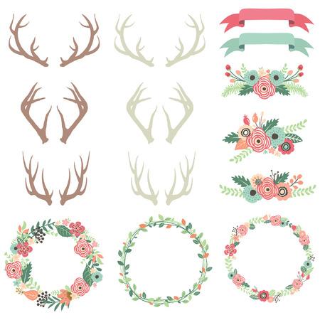 formal garden: Wedding Flower Antlers Illustration