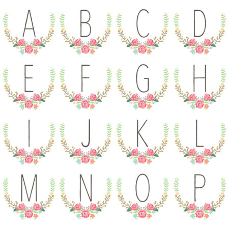 Monogram Wreath Table Card A to P