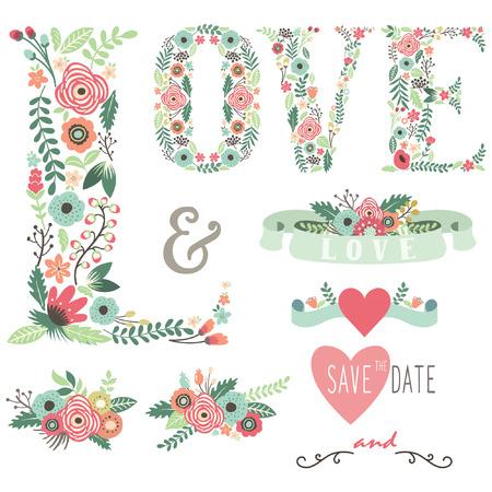 Wedding Floral Love Design Elements