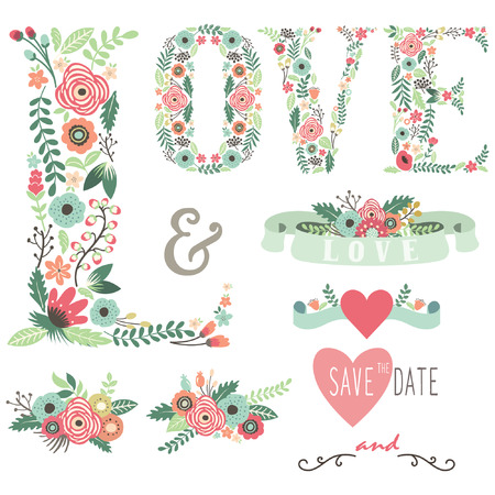 Wedding Floral Love Design Elements