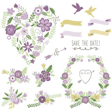 greeting card invitation: Heart Shape Wedding Flora Set