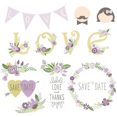 Wedding Floral Invitation Elements Vettoriali