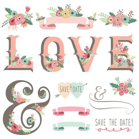 결혼식: 웨딩 꽃 사랑 디자인 요소 일러스트
