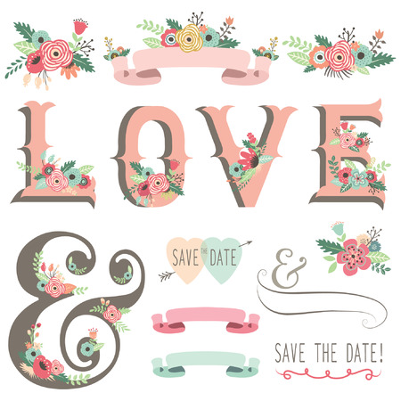 婚禮: 婚禮花愛設計元素 向量圖像