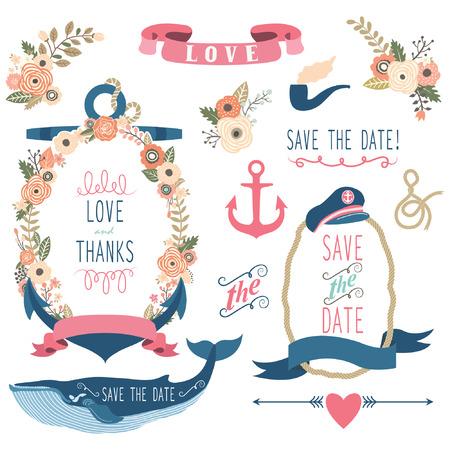 c�r�monie mariage: Nautical Elements mariage Mer Illustration