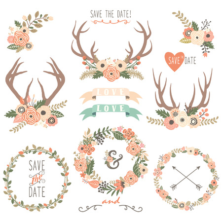 laurel leaf: Wedding Floral Antlers Elements