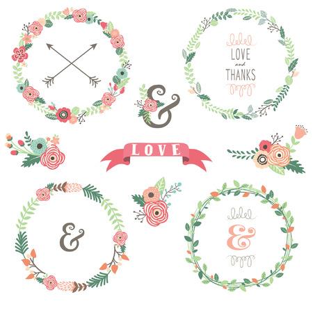 Flowers Wreath Collecties Stockfoto - 43624829