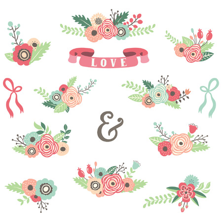 flower clip art: Flower Bouquet Set