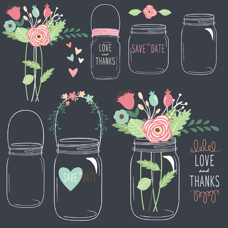 Hand Draw Chalkboard Wedding Mason Jar 版權商用圖片 - 43690843