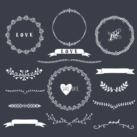 wedding clipart: Chalkboard Laurels Collections