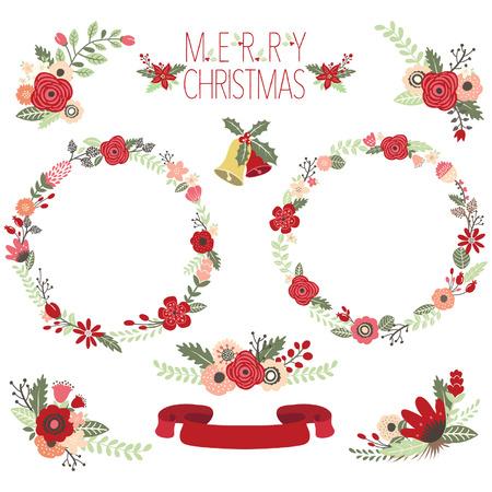 Kerstmis Bloemkransen Stock Illustratie
