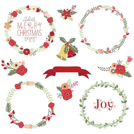 flor de pascua: Corona de Navidad Clip Art